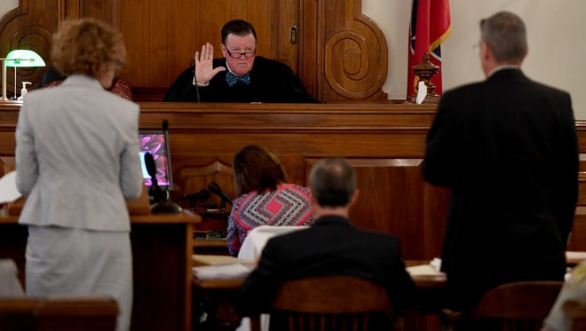 Judge C. Creed McGinley speaks to attorneys during a motions hearing for a continuance in Zach Adams' trial on Wednesday, Aug. 9, 2017.