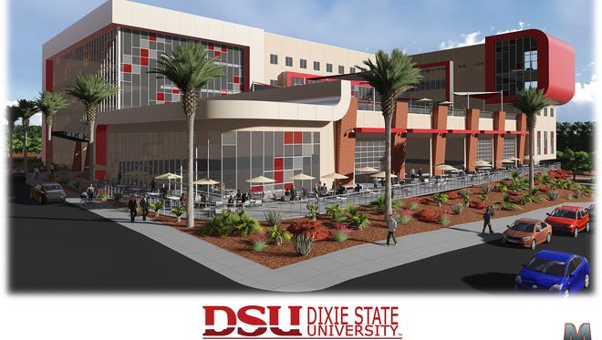 An architect's concept of Dixie State University's planned Human Performance Center building, which will be located at the corner of 700 East and 300 South.
