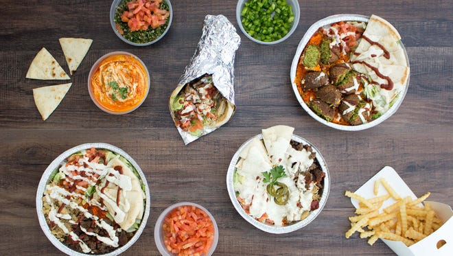 A variety of dishes at The Halal Guys, open late in Tempe.