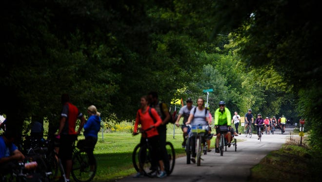 Cyclist make their way through Ira during the Pedaler's Jamboree from Baxter to Bondurant along the Chichaqua Valley Trail on Saturday, Aug. 26, 2017.