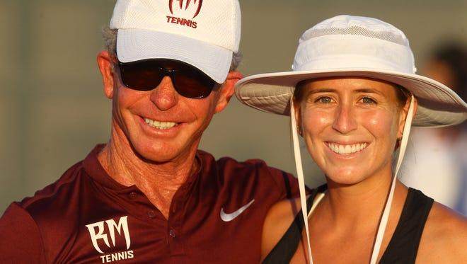 Palm Desert High School girl's tennis team, in dark top uniform, visited Rancho Mirage High School on August 29, 2017.