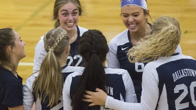 Dallastown celebrates after winning a point Tuesday against Red Lion. The Wildcats defeated the Lions 3-1  to move to 2-0 on the season.