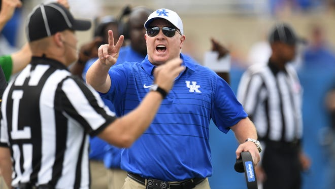 UK head coach Mark Stoops during the University of Kentucky football game against Eastern Kentucky University in Lexington, KY on Saturday, September 9, 2017.