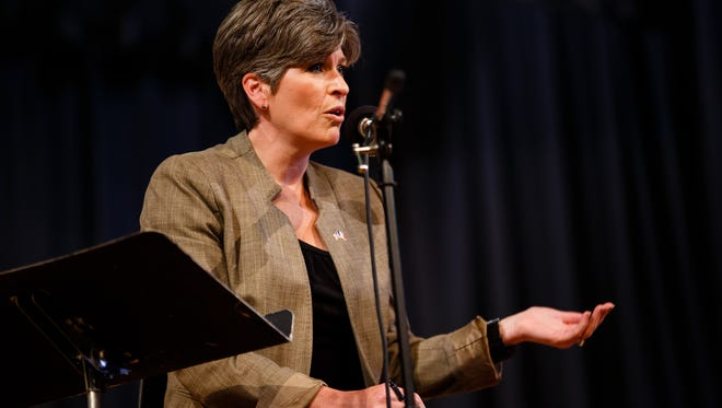Sen. Joni Ernst speaks during a town hall at the Charles City Schools North Grand Auditorium on Thursday, Sept. 21, 2017, in Charles City.