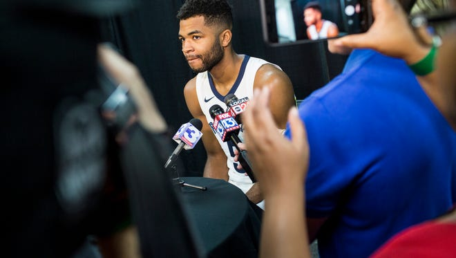 September 25, 2017 - Andrew Harrison speaks with reporters during the Grizzlies' media day at the FedExForum.