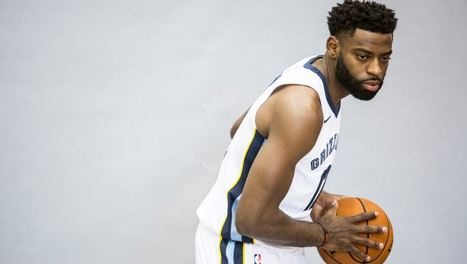 Tyreke Evans poses for a picture during the Grizzlies' media day Sept. 25, 2017, at FedExForum.