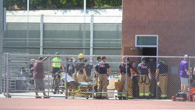 Shadow Hills High School students were evacuated to their football field after a suspicious odor was detected at the school. Emergency personnel were called to the school as the students were evacuated on October 5, 2017.