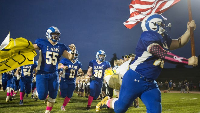 Kennard-Dale takes the field prior to the game. Kennard-Dale plays Dover in football at Kennard-Dale High School in Fawn Grove, Friday, October 6, 2017.