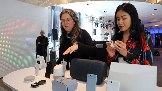 Ivy Ross, left, and Lily Lin of Google introduce the seven new products for home and personal use at the Google pop-up shop in New York City on Tuesday, Oct. 17, 2017. The shop with be open to the public from Thursday, Oct. 19, 2017, until Dec. 31, 2017.