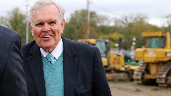 Harpeth Square developer Rod Heller walks around the site during its groundbreaking on Oct. 23, 2017.