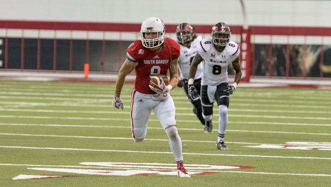 USD defensive back Andrew Gray sprints towards the end zone after intercepting a pass against Southern Illinois on Oct. 28, 2017.