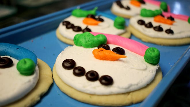 Decorated Christmas cookies are displayed at Margie's Sweet Shop Saturday.