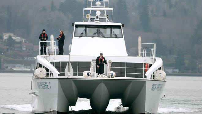 The Kitsap Transit passenger ferry Rich Passage 1 arrives in Bremerton.