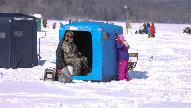 In 2014, ice fishing at the Almost-Annual Crappie Derby in Whitney Point started in the early morning and went on until mid-afternoon with an estimated 3,500 on hand to do fishing and take part in several other events held at the site. More than 1,300 were registered to fish during the day.
