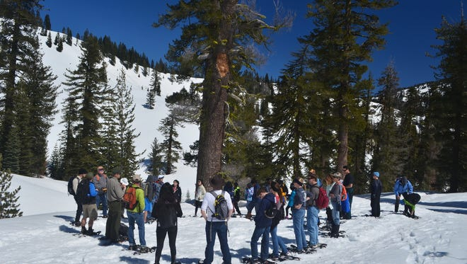 Visitors circle up as ranger Todd Jesse talks about trees on a ranger-led snowshoe walk through the red fir forest.