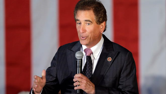 In this Sept. 29, 2014, file photo, Rep. Jim Renacci, R-Ohio, speaks in Independence, Ohio.  Renacci is jumping out of the Republican governor's race and into the U.S. Senate primary. The fourth-term congressman announced his plans Thursday, Jan. 11, 2018,  in a letter to supporters.