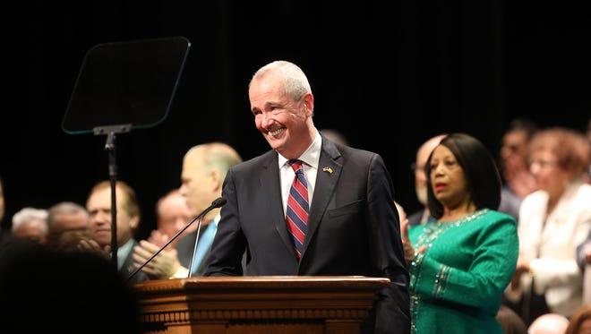 Gov. Phil Murphy speaks after being sworn in on Jan. 16, 2018.
