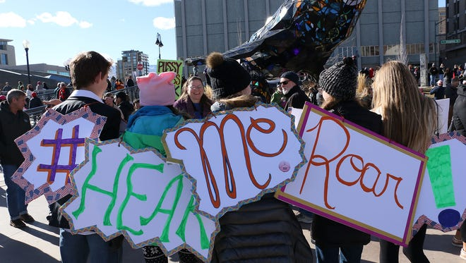 Thousands take part in the Women's March in Reno on Jan. 20, 2018.