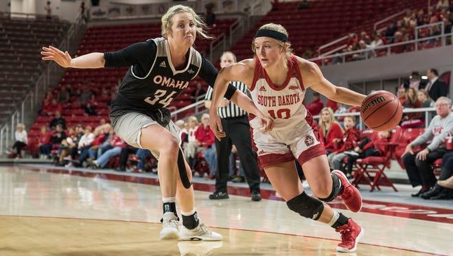 Allison Arens drives around Omaha's Ellie Brecht during the Coyotes' 70-46 win on Saturday at the Sanford Coyote Sports Center.