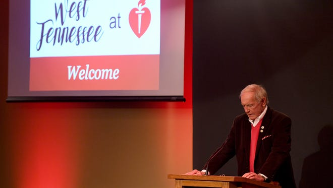 Jackson Mayor Jerry Gist offers prayer during the 2018 West TN at Heart Breakfast, Thursday, Jan. 25 at Union University. The event was the kick off the American Heart AssociationÕs 2018 West TN Go Red For Women and Heart Walk campaigns.