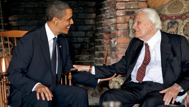 President Barack Obama meets with Billy Graham, 91, at his mountainside home April 25, 2010, in Montreat. Obama concluded his North Carolina vacation with his first meeting of the ailing evangelist, who has counseled commanders in chief since Dwight Eisenhower.