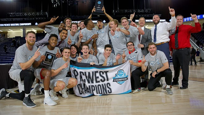 Dixie State celebrates winning the PacWest Conference tournament