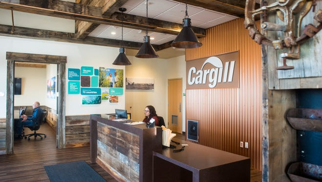 Cargill's lobby is designed to be reminiscent of a grain elevator and uses barn wood from defunct elevators around Montana as accents.