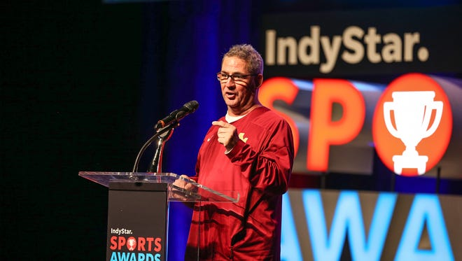 Cory Gray, of Scecina softball, wins coach of the year during the third annual IndyStar Sports Awards held at Butler's Clowes Memorial Hall on Sunday, April 29, 2018.