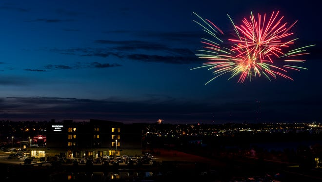 Great Falls' city fireworks show as seen from the Staybridge Suites a few years ago.