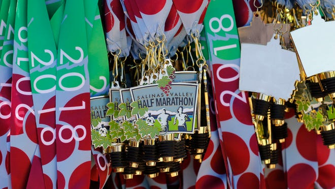 Highlights from the 2018 Salinas Valley Half Marathon and 5K which starts at the Soledad Mission in Soledad and ends at the Pessango Winery in Salinas on Saturday, August 4, 2018.