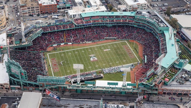 An aerial view of Fenway Park during the football game between the Harvard University Crimson and Yale Bulldogs.