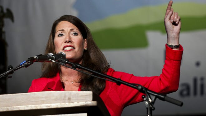 Alison Lundergan Grimes, the Democratic Senate candidate for Kentucky, speaks at her rally on Saturday, November 1, 2014 at Bank of Kentucky Center at Northern Kentucky University.