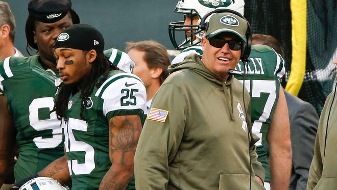 Jets head coach Rex Ryan walks on the sideline during the second half against the Pittsburgh Steelers on Sunday.
