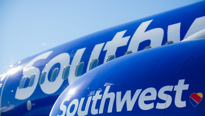 Southwest Airlines shows off the new look for its planes.