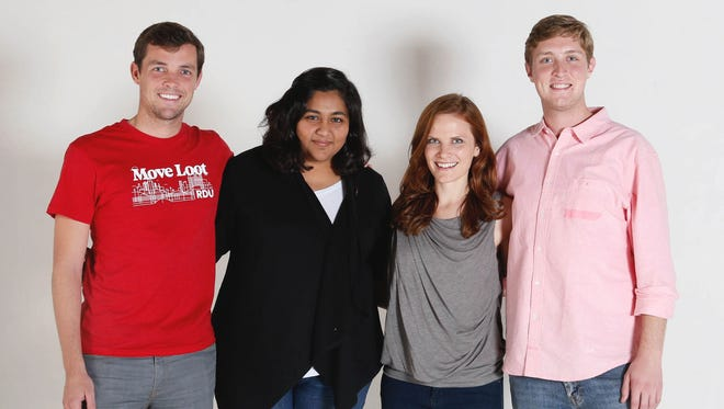Move Loot's co-founders, from left, CEO Bill Bobbitt, chief operating officer Shruti Shah, chief marketing officer Jenny Morrill and chief technology officer Ryan Smith of Move Loot. The used furniture marketplace launched in October 2013 in San Francisco and closed a $2.8 million round from 12 investors in June 2014. On Nov. 17, it expands to its third U.S. city, Charlotte.