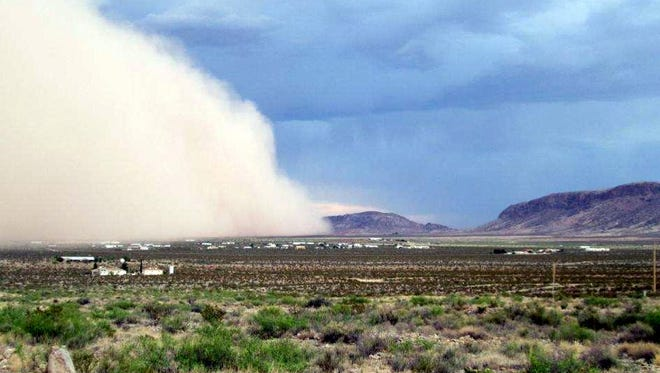 A dust storm similar to the one in this photo taken in Deming in 2016 may have played a role in Monday's 25-vehicle pile-up on I-10 just east of Lordsburg.