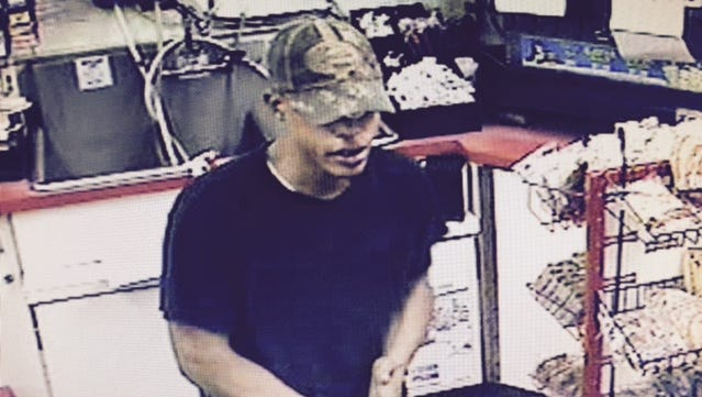 The suspect in a robbery earlier this month.