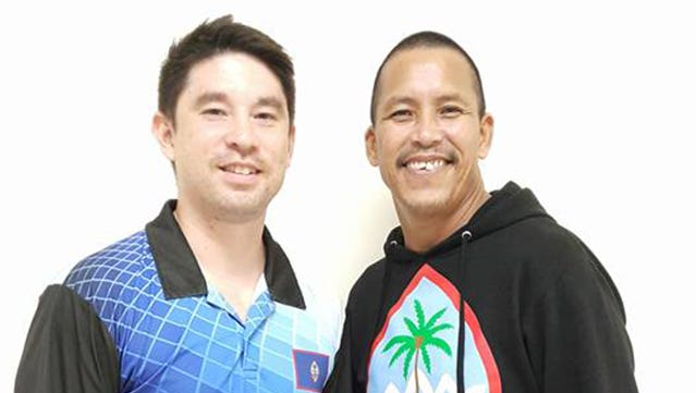 Jay Leon Guerrero (left) and Frank Manibusan Sr. won their respective divisions at the Budweiser King of  the Lanes February edition at the Central Lanes Bowling Center.