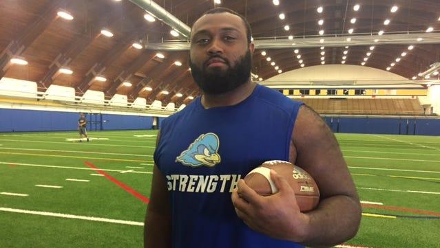 Delaware senior defensive lineman -- and former Concord fullback -- Grant Roberts.