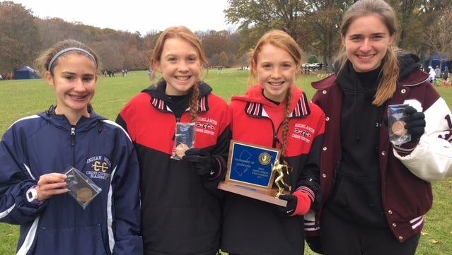 North Jersey Top-20 finishers (left to right): Indian Hills' Corinne Barney, Northern Highlands' Isabel Hebner and Monica Hebner, Park Ridge/Emerson's Samantha Green.