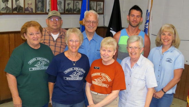 The North Arkansas Woodcarvers Club Show committee has been working hard putting together the 37th annual Woodcarving Show and Sale at the Baxter County Fair Grounds from 10 a.m.- 5 p.m. on Saturday, May 7 and 10 a.m.-4 p.m. Sunday, May 8,. Admission is free. The Show Committee, front row, from left, Amy Wainscott, Bonnie Davis, Kathi Clark, Mary Adair and Sandy Smith. Back row, Curtis Shirkey, Dick Dulaney and Jason Gambill. The Woodcarvers Show will showcase the carvers from six states and will be judged by Debbie Edwards, an award winning carver and instructor. Awards in 40 carving categories will be given for the best carvings. Woodcarvers and Wood turners will have items for sale. NAWC will sell items and the funds go to local charities. More information can be obtained by calling 492-4525.