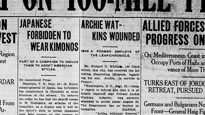 The Clarksville Leaf-Chronicle article on Archie Watkins being hurt in World War I. The family was later told that Watkins had died.