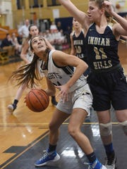 NV/Old Tappan's Skylar Regan drives to the basket on Tuesday against Indian Hills.