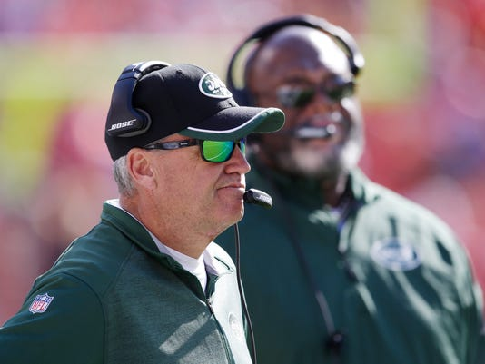 New York Jets head coach Rex Ryan reacts to a play in the first half of an NFL football game against the Kansas City Chiefs in Kansas City, Mo., Sunday, Nov. 2, 2014. (AP Photo/Orlin Wagner)