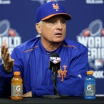 New York Mets manager Terry Collins talks during a news conference before Game 5 of the Major League Baseball World Series against the Kansas City Royals Sunday, Nov. 1, 2015, in New York.