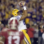 LSU Tigers wide receiver Travin Dural (83) catches a touchdown pass against Alabama.