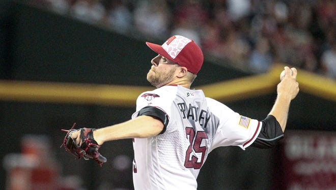 Arizona Diamondbacks starter Archie Bradley pitches against the San Diego Padres on July 4, 2016, at Chase Field in Phoenix.