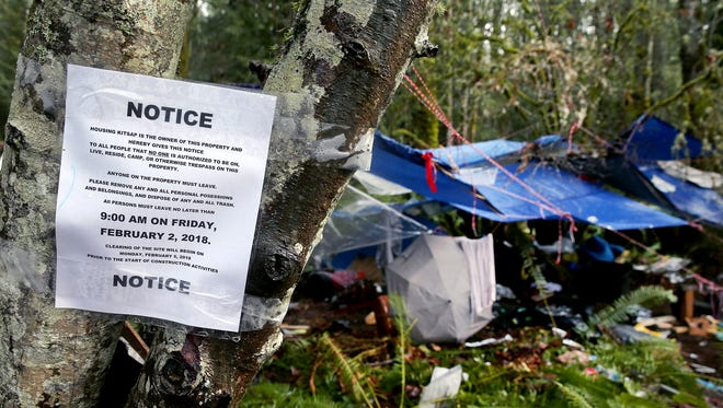 A homeless encampment on Almira Drive in East Bremerton was cleared earlier this year to make way for a new Housing Kitsap development. That development is now on hold.