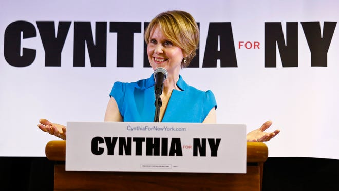 New York candidate for governor Cynthia Nixon speaks during her first campaign stop at the Bethesda Healing Center church, Tuesday, March 20, 2018, in the Brownsville section of Brooklyn in New York.    Nixon will challenge New York Gov. Andrew Cuomo for the Democratic nomination.