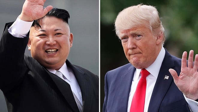 North Korean leader Kim Jong Un on April 15, 2017, in Pyongyang, North Korea, left, and President Trump in Washington on April 29, 2017.